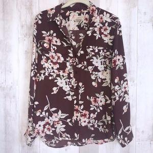 LOFT Outlet Maroon Floral Print Button Down Shirt